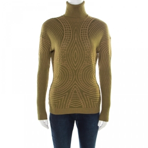 Alexander McQueen Green Patterned Knit Wool Turtleneck Sweater L