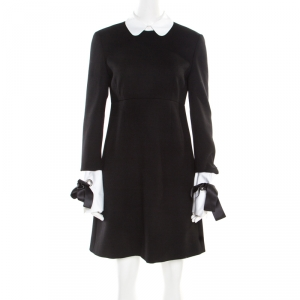 Alexander McQueen Black Wool Contrast Trim Peter Pan Collar Sheath Dress M