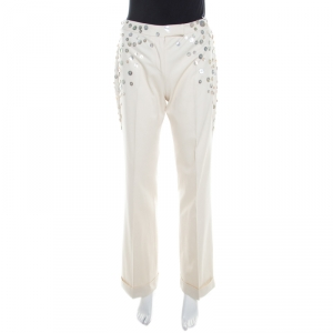Alexander McQueen Beige Cotton Mother of Pearl Button Embellished Flared Trousers M