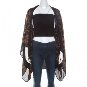 Alexander McQueen Brown Ocelot Printed Silk Chiffon Cape (One Size)
