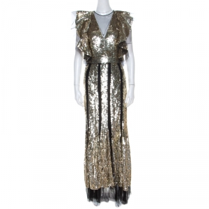 Alexander McQueen Gold Sequin & Tulle Ruffle Detail Gown S