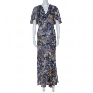 Alexander McQueen Multicolor Floral Printed Cowl Neck Maxi Dress S