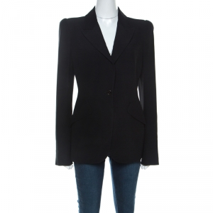 Alexander McQueen Black Crepe Padded Shoulder Single Button Blazer M