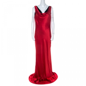 Alexander McQueen Red Silk Cowl Neck Scoop Back Long Dress L
