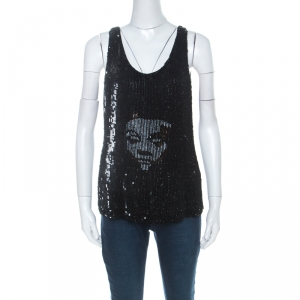 Alexander McQueen Black Sequinned & Beaded Skull Pattern Sleeveless Top S