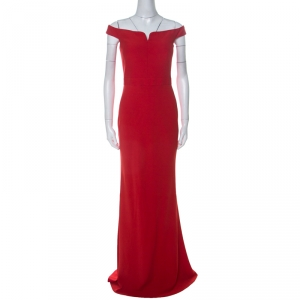 Alexander McQueen Red Crepe Off Shoulder Evening Gown M