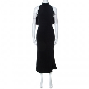 Alexander McQueen Black Crepe Ruffled Open Back Sleeveless Dress S