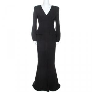 Alexander McQueen Black Silk Long Sleeve Peplum Gown M - used