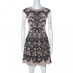 Alexander McQueen Beige and Black Knit Jacquard Silk Blend Mini Dress S