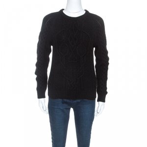 Alexander McQueen Black Wool Skull Cable Knit Sweater XS - used