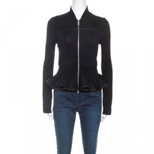 McQ by Alexander McQueen Bicolor Peplum Zip Front Sweater M