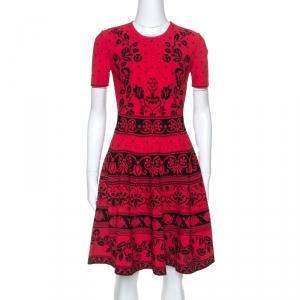 Alexander McQueen Poppy Red Floral Jacquard Knit Dress M