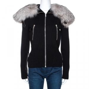 Alexander McQueen Black Wool Knit Fur Collared Sweater S