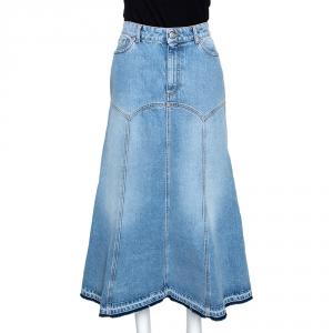 Alexander McQueen Blue Light Washed Denim Flared Skirt M