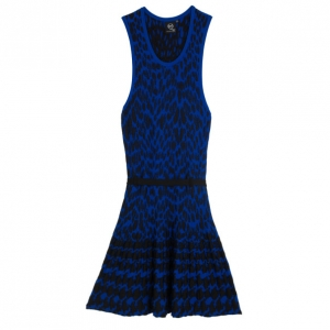 Alexander McQueen Leopard Knitted Jacquard Dress