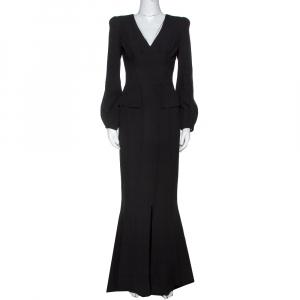 Alexander McQueen Black Silk Long Sleeve Peplum Gown S used