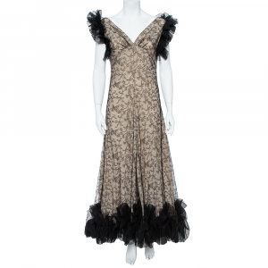 Alexander McQueen Black & Cream Ruffled Lace Gown M used