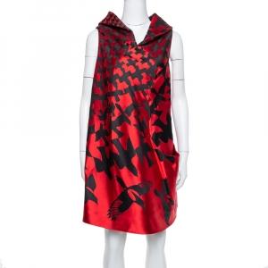 Alexander McQueen Red & Black Patterned Satin High Neck Detail Shift Dress S