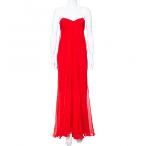 Alexander McQueen Red Chiffon Bustier Detail Strapless Evening Gown M used
