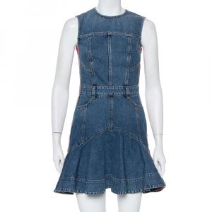 Alexander McQueen Blue Denim Side Stripe Detail Flared Mini Dress S - used