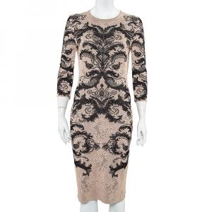 Alexander McQueen Beige & Black Jacquard Knit Sheath Dress M used