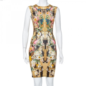 Alexander McQueen Multicolor Dragonfly Printed Knit Sleeveless Sheath Dress S used