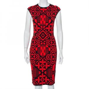 Alexander McQueen Red & Black Jacquard Knit Sheath Dress M