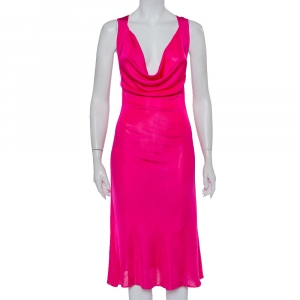 Alexander McQueen Pink Knit Cross Back Detail Midi Dress L