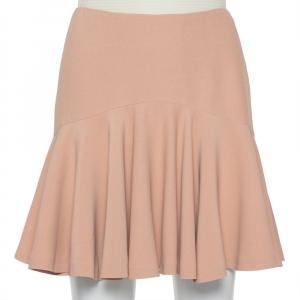 Alexander McQueen Beige Crepe Ruffle Mini Skirt S