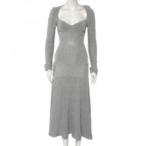 Alexander McQueen Silver Lurex Knit Plunging Neckline Gown S - used