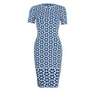 Alexander McQueen Blue Embossed Floral Jacquard Pattern Knit Dress XXS