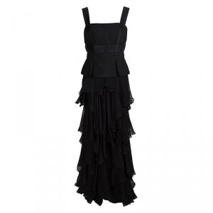 Alexander Mcqueen Black Tiered Sleeveless Peplum Gown M used
