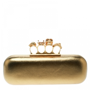 حقيبة كلتش أليكساندر ماكوين صندوق بخواتم جمجمة جلد ذهبية