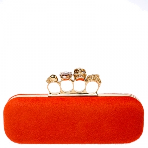 حقيبة كلتش أليكساندر ماكوين صندوق بخواتم جمجمة جلد عجل برتقالية