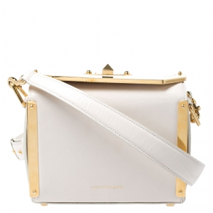 Alexander McQueen Off White Leather Box 19 Shoulder Bag