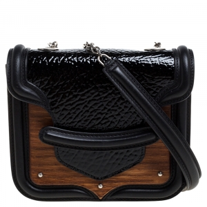 Alexander McQueen Black/White Patent Leather and Calfhair Heroine Crossbody Bag