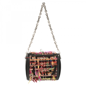 Alexander McQueen Multicolor Leather and Wool Box 16 Shoulder Bag