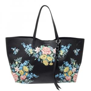 Alexander McQueen Black Floral Print Leather Shopper Tote