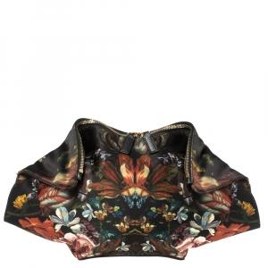 Alexander McQueen Multicolor Floral Print Satin Medium De Manta Clutch