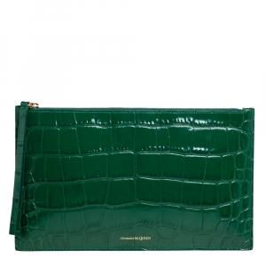 Alexander McQueen Green Croc Zip Pouch