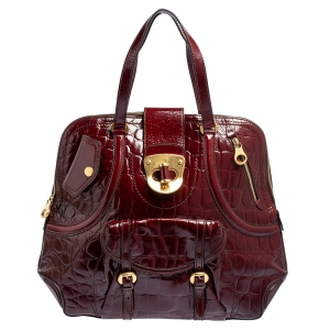 Alexander McQueen Burgundy Croc Embossed Patent Leather Novak Bag