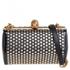 Alexander McQueen Black Leather Hexagon Studded Clutch
