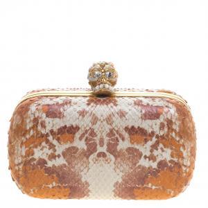 حقيبة كلاتش أليكساندر ماكوين صندوقية جمجمه جلد ثعبان متعددة الألوان