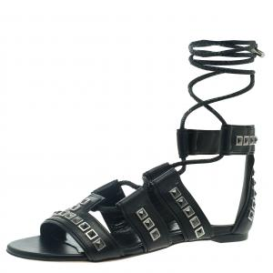 Alexander McQueen Black Leather Studded Sandals Size 37