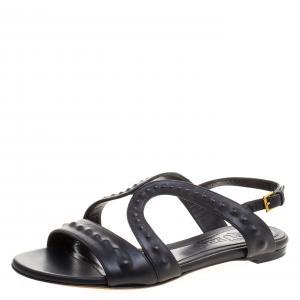 Alexander McQueen Black Leather Sandals Size 37
