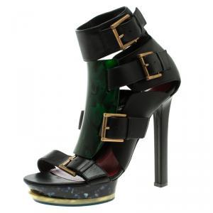 Alexander McQueen Black Leather Plexi Plaque Strappy Platform Sandals Size 40