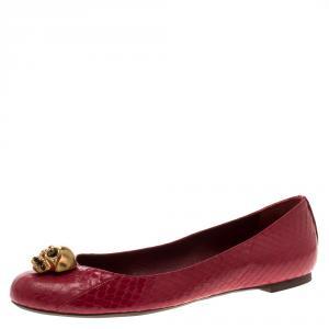 Alexander McQueen Pink Snakeskin Leather Skull City Ballet Flats Size 38