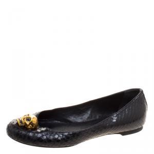 Alexander McQueen Black Python Leather Skull City Ballet Flats Size 36
