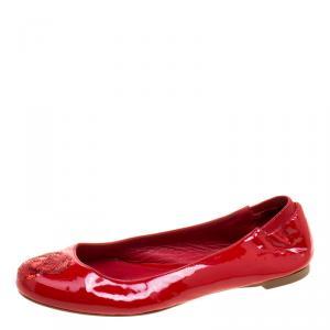 Alexander McQueen Pink Patent Leather Sequin Skull Ballet Flats Size 36
