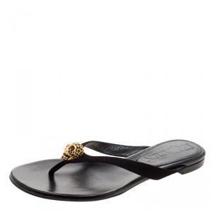 Alexander McQueen Black Suede Crystal Embellished Skull Flat Thong Sandals Size 35